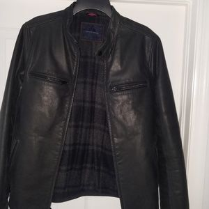 Tommy Hilfiger Black Genuine Leather Winter Jacket
